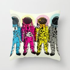 CMYK Spacemen Throw Pillow