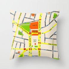 Tel Aviv map design - written in Hebrew Throw Pillow