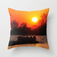 Silhouettes and Fire Throw Pillow