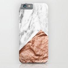 Marble & rose gold geometric iPhone 6s Slim Case