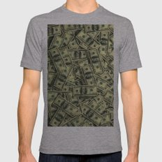 100 Dollar Cash Get Rich Mens Fitted Tee Athletic Grey SMALL