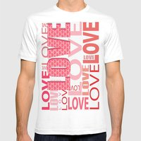 The Word Love In Red With Hearts Mens Fitted Tee White SMALL