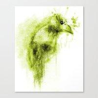 Splatter Bird Green Canvas Print
