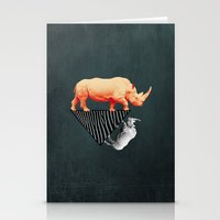 The orange rhinoceros who wanted to become a zebra Stationery Cards