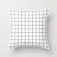 White Black Grid Minimalist Throw Pillow