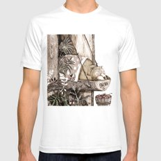 Mr.Brown is asleep. Mens Fitted Tee White SMALL