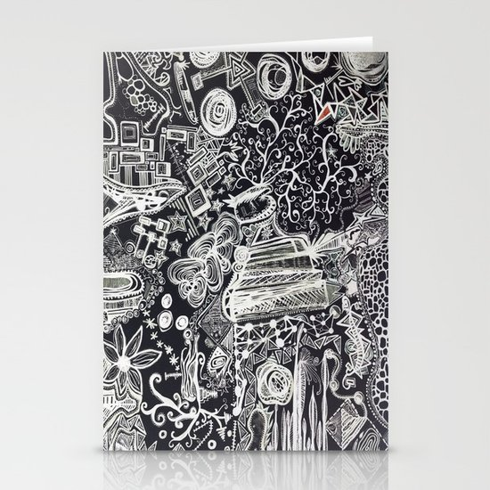 White/Black #2  Stationery Card