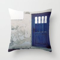 Santorini Door IV Throw Pillow
