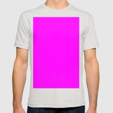 (Fuchsia) Mens Fitted Tee Silver SMALL