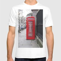 London Phone Booth Mens Fitted Tee White SMALL