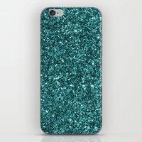 Turquoise Glitter 2 iPhone & iPod Skin