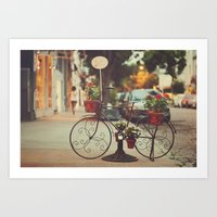 The bike with the flowers Art Print