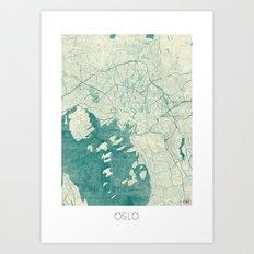 Oslo Map Blue Vintage Art Print
