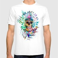SKULL WILD S. Mens Fitted Tee White SMALL