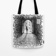 Tote Bag featuring Light - Black Ink by Nicolas Jolly