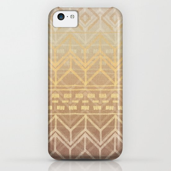 Neutral Tan & Gold Tribal Ikat Pattern iPhone & iPod Case