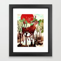Deer In The Works Framed Art Print