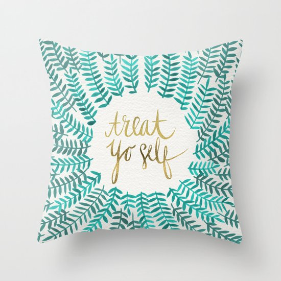 Treat Yo Self ? Gold & Turquoise Throw Pillow by Cat Coquillette Society6
