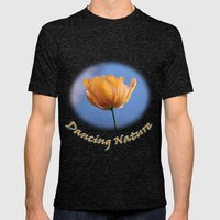 A spring wild yellow flower in blue background. Mens Fitted Tee Tri-Black SMALL