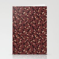 loves me loves me not pattern - oxblood Stationery Cards