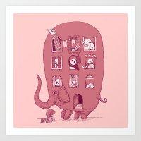 Elephant Bus - FatPanda Art Print