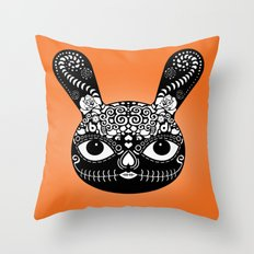 Day Of The Dead Bunny Throw Pillow