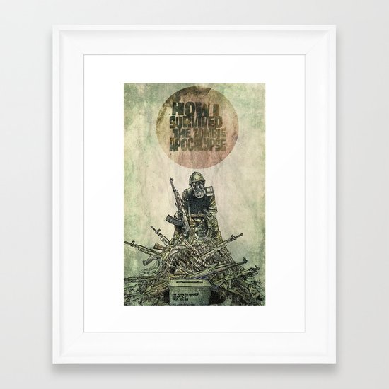 How I Survived The Zombie Apocalypse (colour option) Framed Art Print