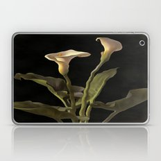 White Calla Lilies On A Black Background Laptop & iPad Skin