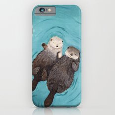 Otterly Romantic - Otters Holding Hands iPhone 6 Slim Case