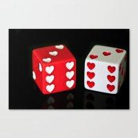 Dice Hearts Canvas Print