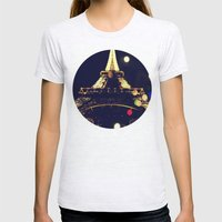 Paris by night Womens Fitted Tee Ash Grey SMALL
