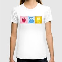 Bright Owls Womens Fitted Tee White SMALL