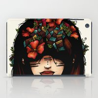 The girl who was thinking about geometry & red flowers iPad Case