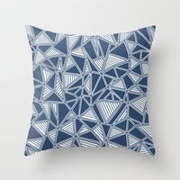 Abstract Outline Lines Navy  Throw Pillow