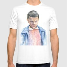 Eleven Stranger Things Watercolor Portrait SMALL Mens Fitted Tee White