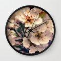 Blossoms at Dusk - vintage toned & textured macro photograph Wall Clock