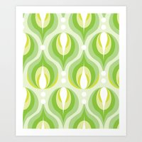 Green Dew Drops Art Print