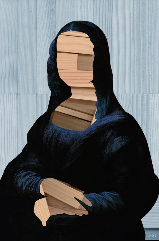 Mona Lisa - blue shining WoodCut Collage Art Print