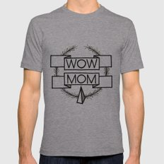 WOW MOM Mens Fitted Tee Athletic Grey SMALL