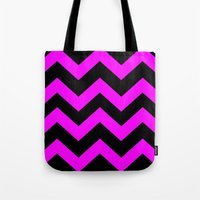 Black & Pink Chevron Lin… Tote Bag