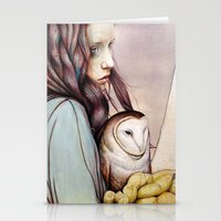 owl Stationery Cards featuring The Girl and the Owl by Michael Shapcott