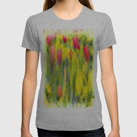 Pastel Summer Flowers  Womens Fitted Tee Athletic Grey SMALL