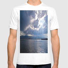 Sun Beams White SMALL Mens Fitted Tee