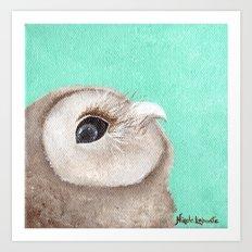 Original Owl Painting Print Aqua Blue Owl Art Owl print Cute Owl art One of a kind Unique Art Print