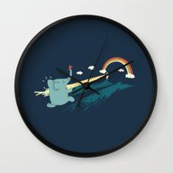 Wall Clock featuring Pole Vault by Ilovedoodle