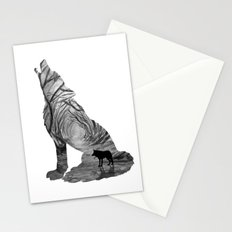 Wild Forest Wolf - Black and White Stationery Cards