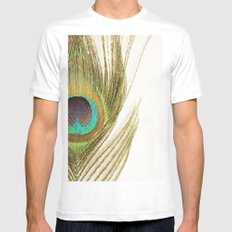 Peacock Feather White Mens Fitted Tee SMALL