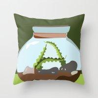 Terrarium Letter A Throw Pillow