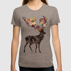 Spring Itself Deer Flower Floral Tshirt Floral Print Gift Womens Fitted Tee Tri-Coffee SMALL