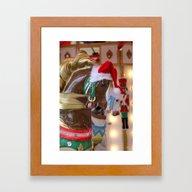 Santa Horse Brown Framed Art Print